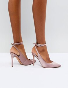 Read more about Asos pickle pointed high heels - nude satin