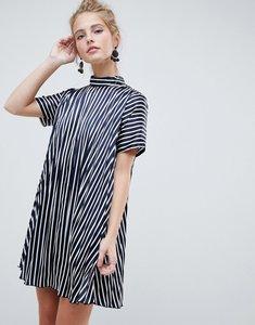 Read more about Asos design pleated trapeze mini dress in stripe - multi