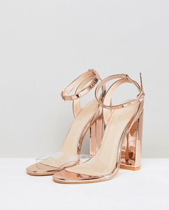Read more about Public desire natasa rose gold block heeled sandals - rose gold