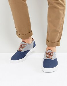 Read more about Asos lace up plimsolls with blue and white stripe - navy