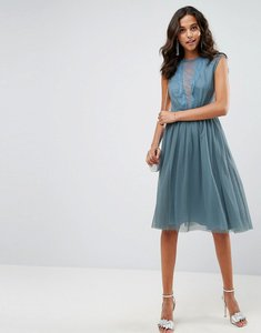 Read more about Asos tulle cap sleeve midi dress in tonal lace - dusty blue