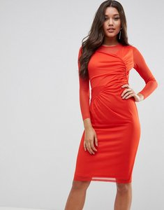 Read more about Asos mesh midi bodycon dress with ruched details - red