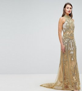 Read more about A star is born high neck maxi dress with allover embellishment in pattern - gold