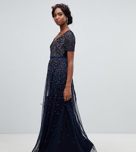 6f235b70a242d Read more about Maya tall v neck maxi tulle dress with contrast tonal  delicate sequins in