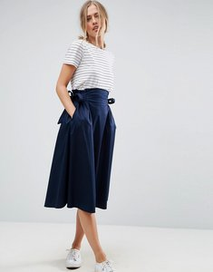 Read more about Asos tailored midi skirt with tie side - navy