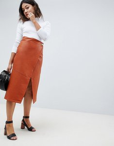 Read more about Asos design leather look wrap midi skirt - tan