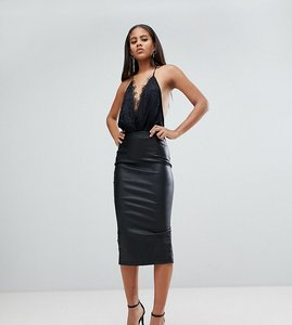 Read more about Asos tall sculpt me leather look pencil skirt - black