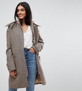 Read more about Asos tall hooded check coat with rib funnel neck - multi