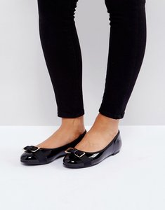Read more about Head over heels by dune honour bow ballet shoes - black