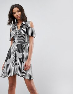 Read more about Liquorish ruffle front cold shoulder dress in mix stripe - blackwhite