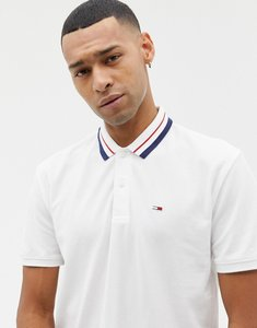 Read more about Tommy jeans classic icon tipped pique polo relaxed regular fit in white - white