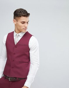 Read more about Asos wedding skinny suit waistcoat in wine - burgundy