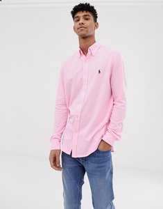 Read more about Polo ralph lauren player logo button down pique shirt slim fit in pink