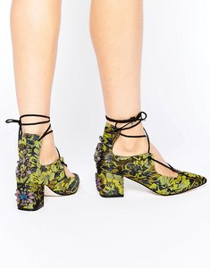 Read more about Asos saloon embellished heels - jacquard