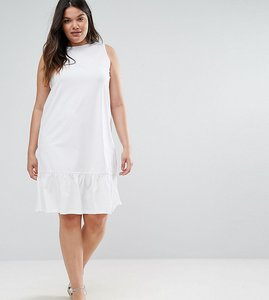 Read more about Asos curve dropped hem sleeveless mini smock dress - white