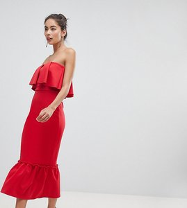 Read more about True violet bandeau frill midi dress with pephem - red
