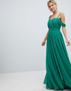 Read more about Y a s floaty maxi dress with cold shoulder - green