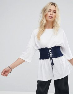 Read more about Glamorous relaxed t-shirt with shirred corset waist belt - white navy