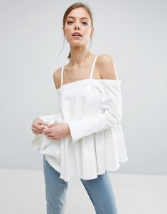 Read more about Asos denim cold shoulder top with pleated peplum and cuff detail - white