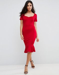 Read more about Club l office scuba sweetheart detailed midi bodycon dress - red