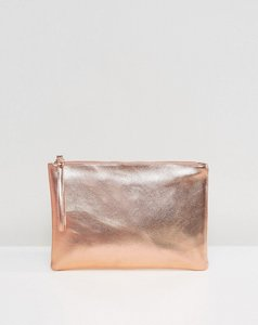Read more about South beach rose gold metallic clutch bag - rose gold