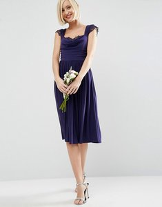 Read more about Asos wedding lace insert cowl midi dress - navy