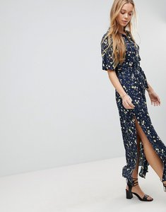 Read more about Liquorish floral print maxi dress with spilt - navy