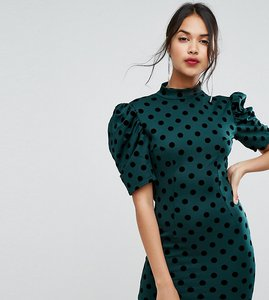 Read more about Prettylittlething polka dot open back mini dress - green