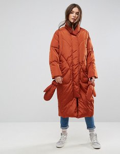Read more about Asos longline puffer coat with detachable mittens - rust
