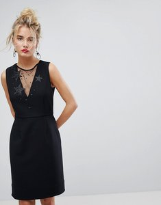 Read more about Essentiel antwerp star embellished mesh insert dress - black