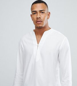 Read more about Asos design tall regular fit longline viscose shirt in white with v neck - white