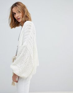 Read more about Free people chamomile slouchy wool and mohair blend cardigan - ivory