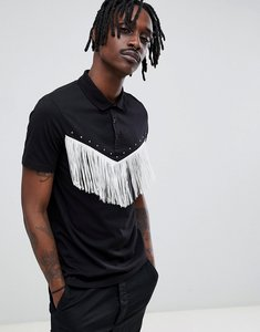 Read more about Asos design polo shirt with western fringing in black - black