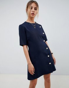 Read more about Asos design mini shift dress with buttons - navy