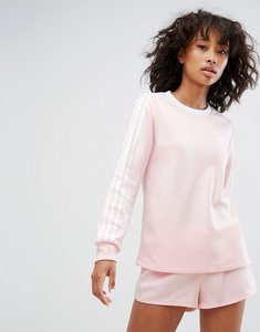 Read more about Adidas three stripe long sleeve top in pale pink - pink