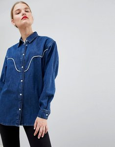 Read more about Asos denim western shirt with piping - blue