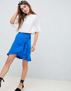 Read more about Asos design wrap mini skirt with tie waist - cobalt blue