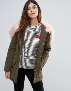 Read more about Ax paris parka with faux fur trim - khaki pink