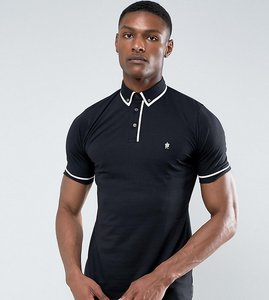 Read more about French connection tall short sleeve piping polo shirt - black
