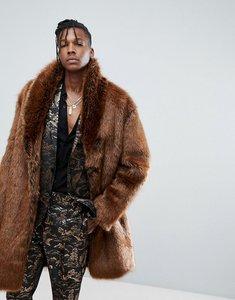 Read more about Asos faux fur overcoat in rust - orange