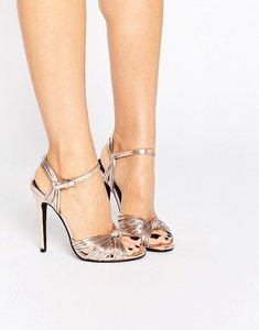 Read more about Public desire angel knot rose gold heeled sandals - rose gold
