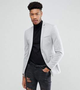 Read more about Asos design tall super skinny blazer in grey jersey - grey