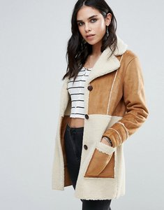 Read more about Glamorous faux shearling coat - tan cream