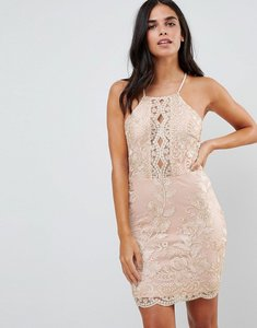 Read more about Parisian embroidered metallic dress - nude gold
