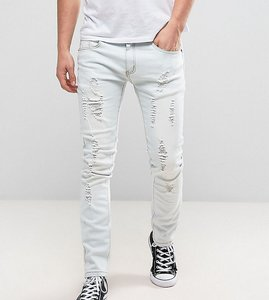 Read more about Liquor n poker slim distressed jeans in bleach stonewash blue - light stonewash