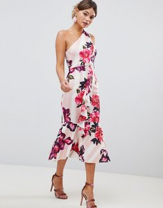 Read more about Asos design one shoulder midi dress with floral and stripe print - multi