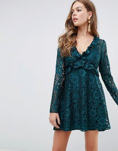Read more about Asos design lace v neck mini smock dress with long sleeves - forest green