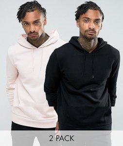 Read more about Asos longline hoodie 2 pack pink black save - black floss