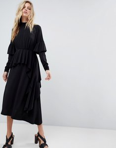 Read more about Asos deconstructed tea dress with open back - black