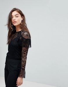 Read more about Warehouse ruffle shoulder lace blouse - black